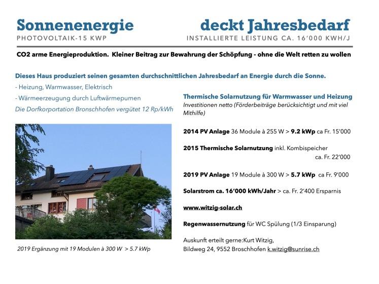 Kurt Witzig PV Solar Infoblatt 2019